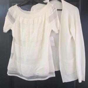 Tiered Lace Peasant Blouse + Cardigan Medium White